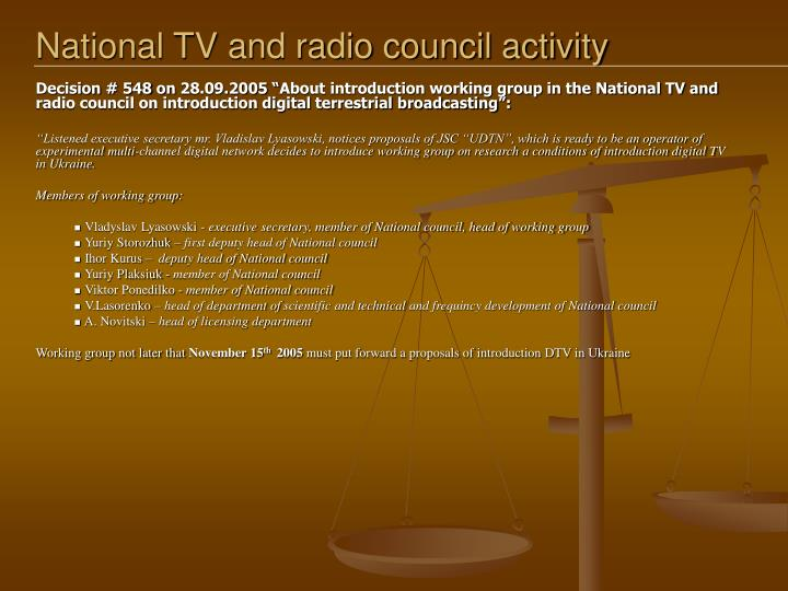 National TV and radio council activity