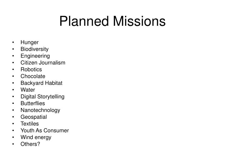 Planned Missions