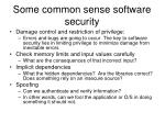 some common sense software security