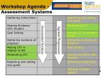 workshop agenda assessment systems