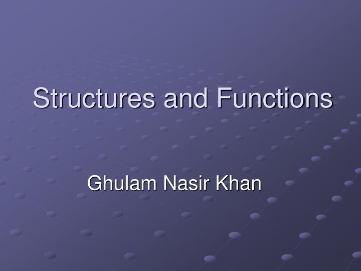 structures and functions n.