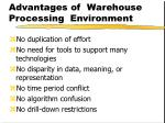 advantages of warehouse processing environment