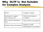 why oltp is not suitable for complex analysis