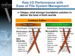 raw i o performance with ease of file system management