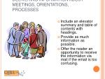 delivering information about meetings orientations processes