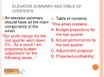 elevator summary and table of contents