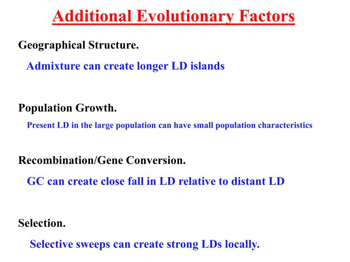 Additional Evolutionary Factors