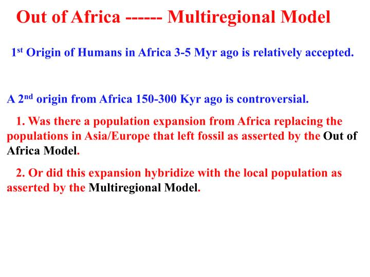 Out of Africa ------ Multiregional Model