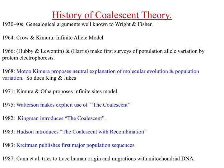 History of Coalescent Theory.