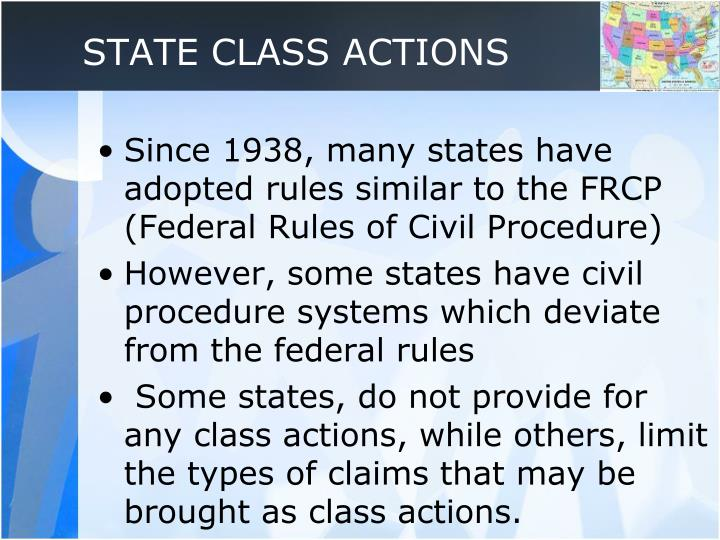 STATE CLASS ACTIONS