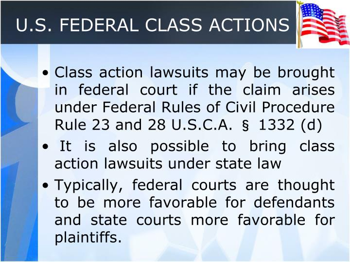 U.S. FEDERAL CLASS ACTIONS