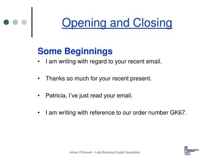 business email opening