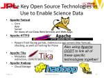 some key open source technologies in use to enable science data
