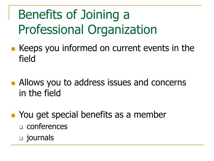 Benefits of joining a professional organization