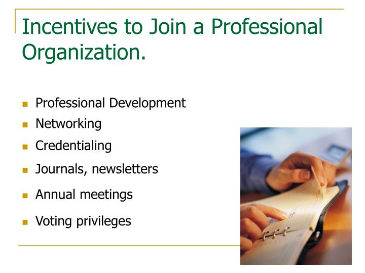 Incentives to Join a Professional Organization.