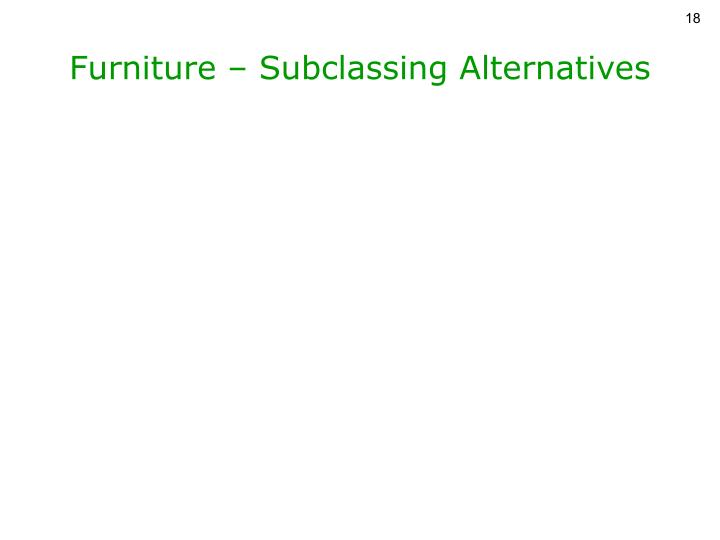 Furniture – Subclassing Alternatives