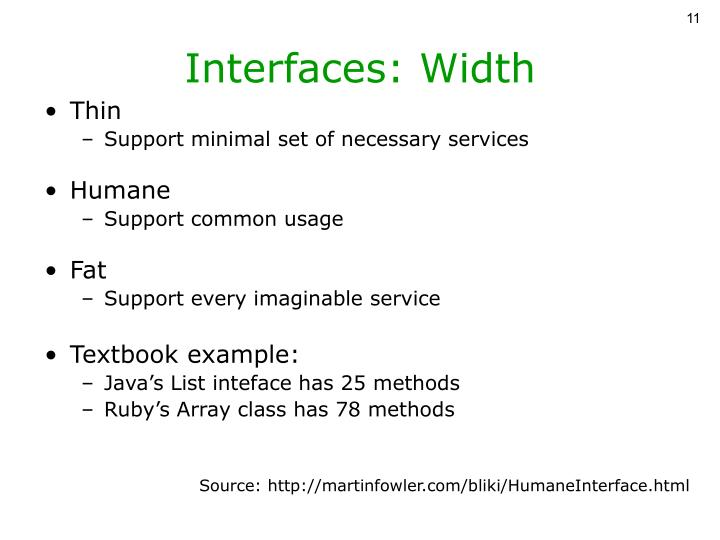 Interfaces: Width