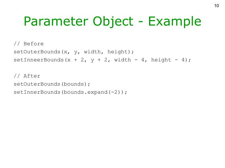 Parameter Object - Example