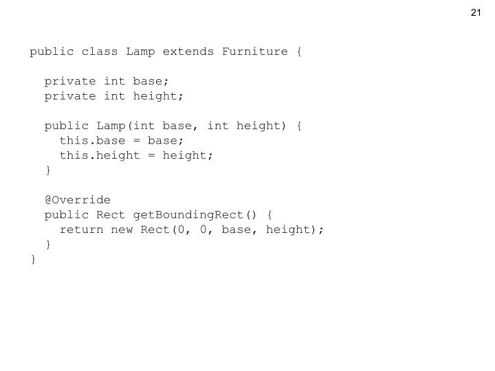 public class Lamp extends Furniture {