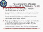 main components of access used research methods and results