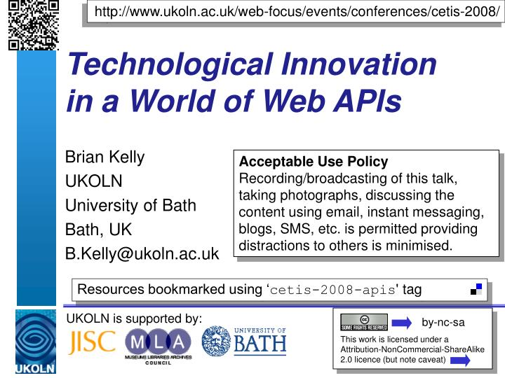 technological innovation in a world of web apis n.