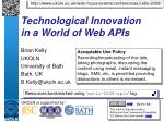 technological innovation in a world of web apis