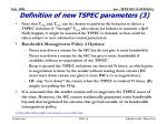 definition of new tspec parameters 3