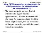 new tspec parameters are isomorphic to rsvp parameters for all applications we ve considered 3