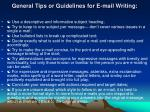 general tips or guidelines for e mail writing