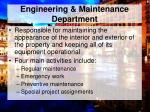 engineering maintenance department