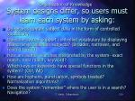 system designs differ so users must learn each system by asking1
