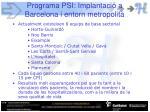 programa psi implantaci a barcelona i entorn metropolit