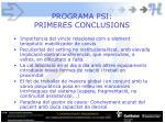 programa psi primeres conclusions