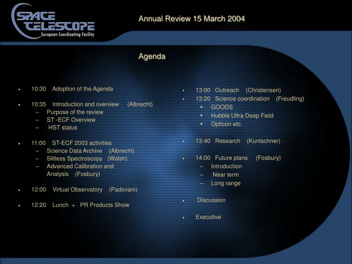 annual review 15 march 2004 agenda n.