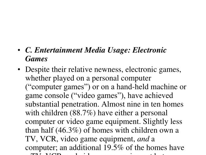 C. Entertainment Media Usage: Electronic Games