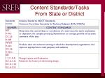 content standards tasks from state or district