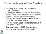 recommendations for data providers