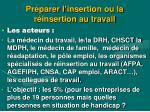 pr parer l insertion ou la r insertion au travail
