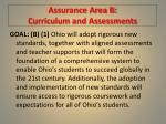 assurance area b curriculum and assessments