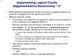 implementing logical clocks happened before relationship