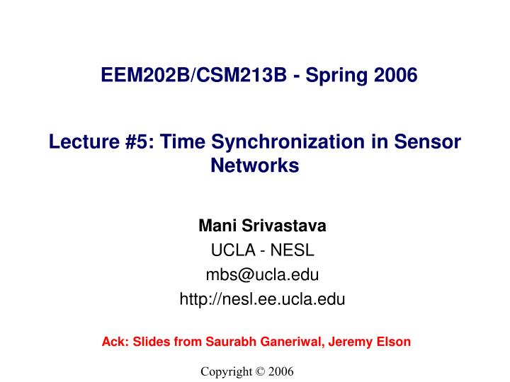 lecture 5 time synchronization in sensor networks n.