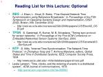 reading list for this lecture optional