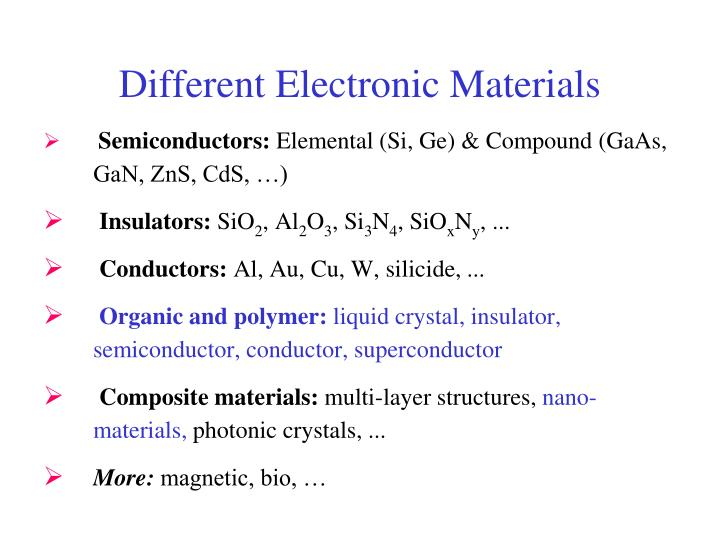 different electronic materials n.