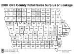 2000 iowa county retail sales surplus or leakage