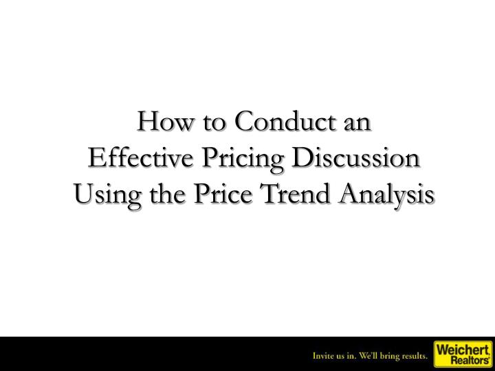 how to conduct an effective pricing discussion using the price trend analysis n.