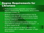 degree requirements for librarians