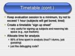 timetable cont