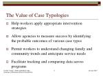 the value of case typologies