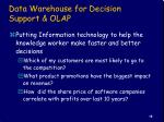 data warehouse for decision support olap