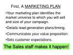 first a marketing plan